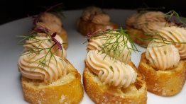 Smoked Salmon Crostini - Cream Cheese / Chives / Lemon
