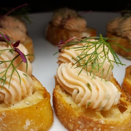 Smoked Salmon Crostini - Cream Cheese / Chives / Lemon