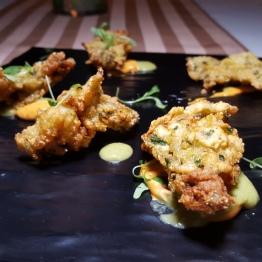 Buttermilk Fried Oysters - Cornmeal crust / chipotle aioli / pickled tomatillo puree